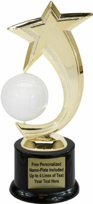 "8"" Volleyball Shooting Star Spinning Trophy Kit with Pedestal Base"