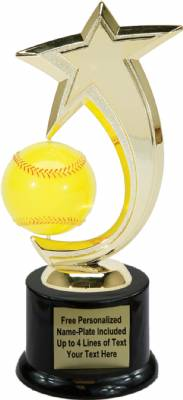"8"" Softball Shooting Star Spinning Trophy Kit with Pedestal Base"