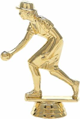"4 1/2"" Lawn Bowler Female Trophy Figure Gold"