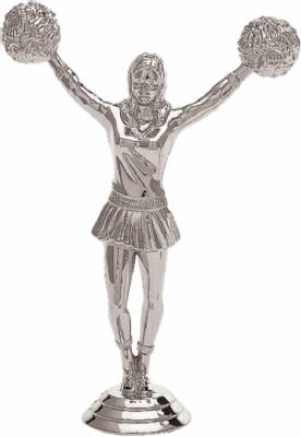 "5 1/2"" Cheerleader Female Trophy Figure Silver"