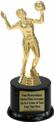 "7 1/4"" Volleyball Female Trophy Kit with Pedestal Base"