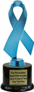 "Blue 7 1/2"" Awareness Ribbon Trophy Kit with Pedestal Base"