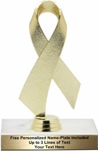 "Gold 6 1/2"" Awareness Ribbon Trophy Kit"