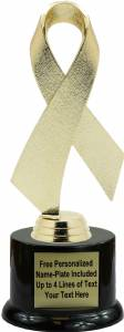 "Gold 7 1/2"" Awareness Ribbon Trophy Kit with Pedestal Base"