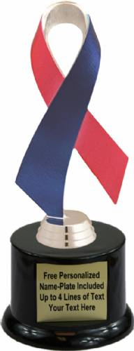 "Red/White/Blue 7 1/2"" Awareness Ribbon Trophy Kit with Pedestal Base"