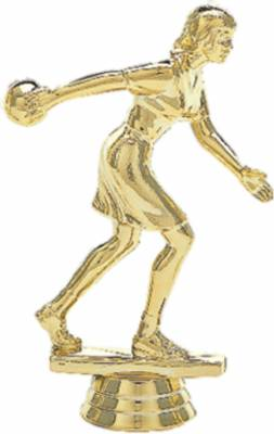"5"" Bowler Female Trophy Figure Gold"