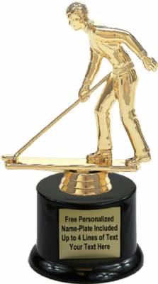 "7"" Shuffleboard Male Trophy Kit with Pedestal Base"