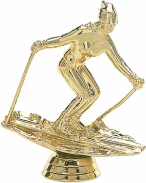 "4 1/2"" Snow Skier Female Trophy Figure Gold"