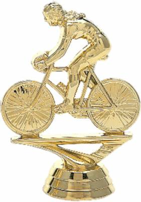"3 3/4"" Bicycle Rider Female Trophy Figure Gold"