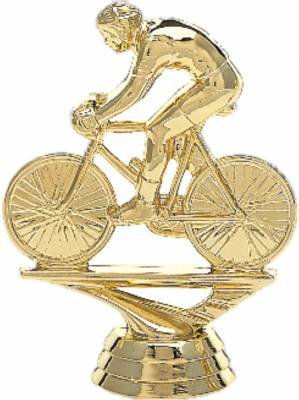 "3 3/4"" Bicycle Rider Male Trophy Figure Gold"