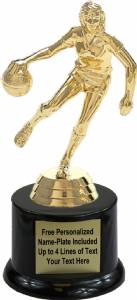 "6 1/2"" Basketball Action Female Trophy Kit with Pedestal Base"