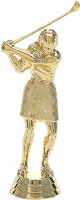 "4 3/4"" Golfer Female With Club Trophy Figure Gold"