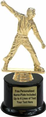 "7"" Cricket Bowler Male Trophy Kit with Pedestal Base"