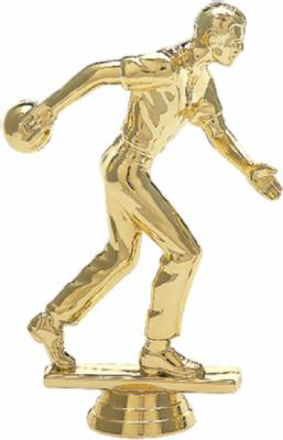 "6"" Bowler Male Trophy Figure Gold"
