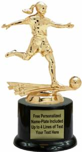 "7"" All Star Soccer Female Trophy Kit with Pedestal Base"