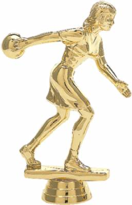 "6"" Bowler Female Trophy Figure Gold"