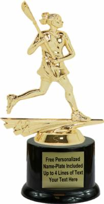 "7"" Allstar Lacrosse Female Trophy Kit with Pedestal Base"