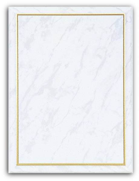 9 X 12 White Marble Finish Gold Border Plaque Blank
