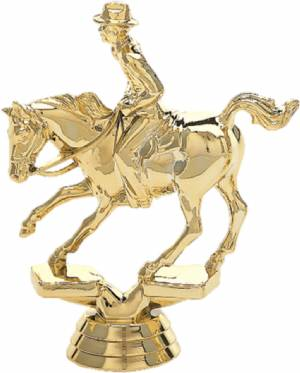 "Gold  4 1/2"" Cutting Horse Male Rider Trophy Figure"