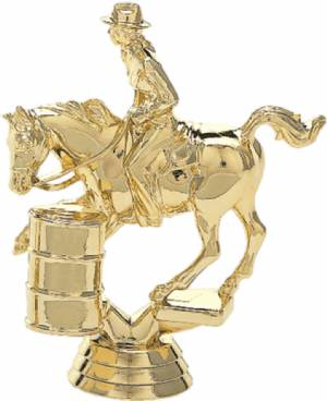 "4 1/2"" Barrel Racing Female Trophy Figure Gold"