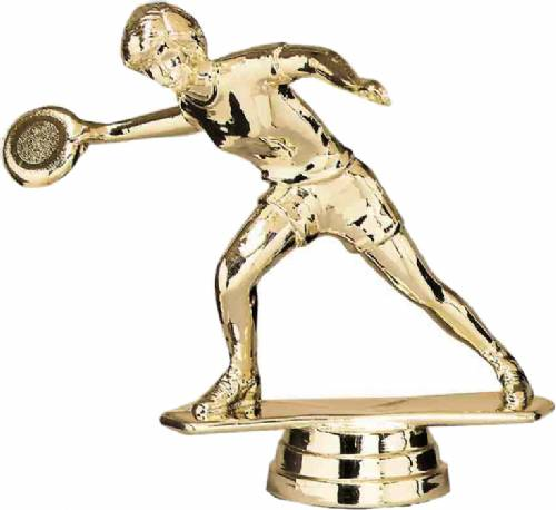 "Gold 4 1/4"" Female Disc Golf Frisbee Player Trophy Figure"
