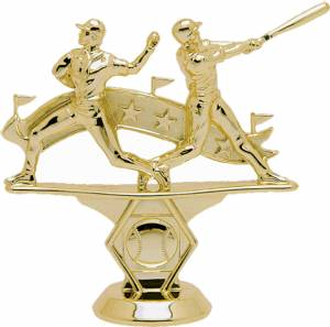 "5"" Double Action Baseball Male Trophy Figure Gold"