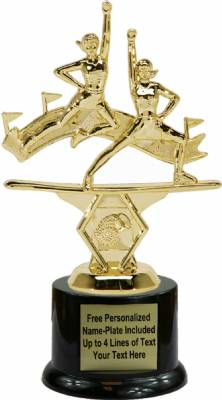 "7"" Double Action Cheerleader Trophy Kit with Pedestal Base"