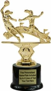 "7"" Double Action Soccer Female Trophy Kit with Pedestal Base"