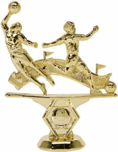 "5"" Double Action Soccer Male Trophy Figure Gold"