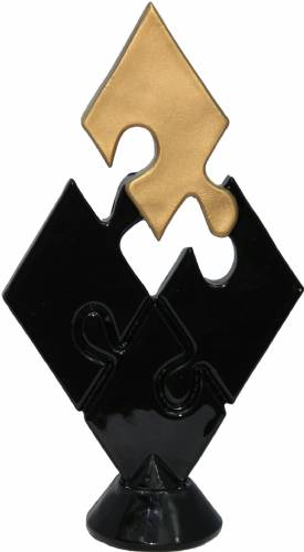 "6"" Black/Gold Teamwork Puzzle Resin Trophy Figure"