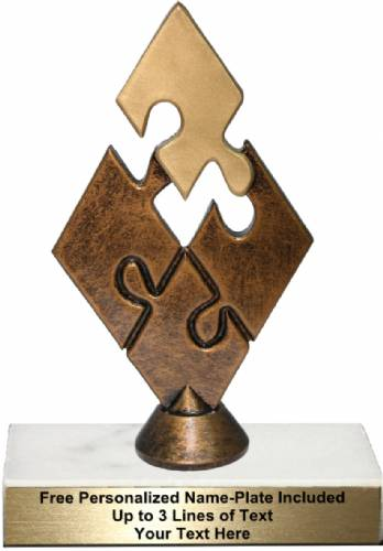 "6 3/4"" Bronze/Gold Teamwork Puzzle Resin Trophy Kit"