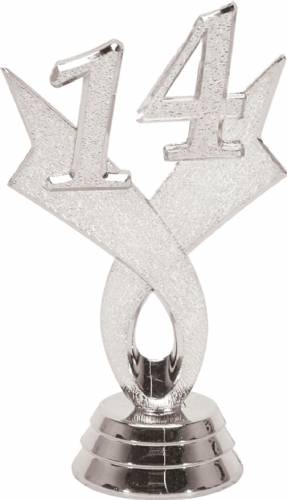 "3 1/4"" Silver ""14"" Year Date Trophy Trim Piece"