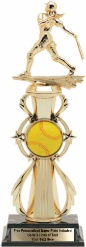 Softball Color Riser Trophy Pre-Assembled