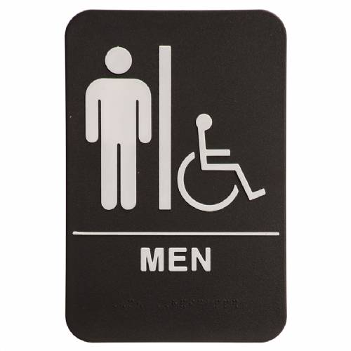 "ADA 6"" x 9"" Men (w/wheelchair) Restroom Sign Black/White"