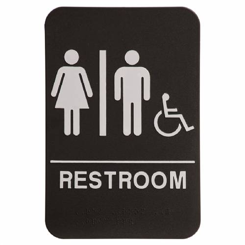 "ADA 6"" x 9"" Unisex (w/wheelchair) Restroom Sign Black/White"