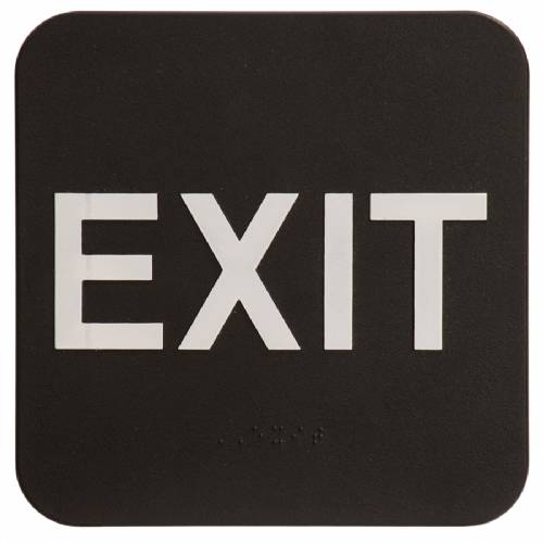 "ADA 6"" x 6"" Exit Sign Black/White"