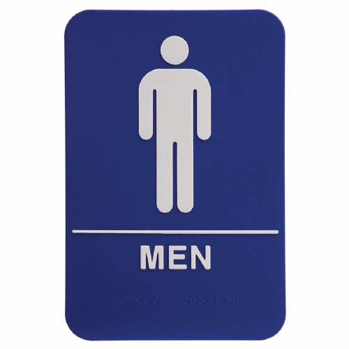 "ADA 6"" x 9"" Men Restroom Sign Blue/White"