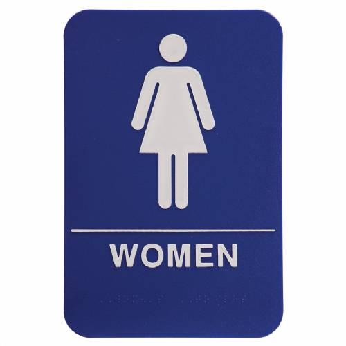 "ADA 6"" x 9"" Women Restroom Sign Blue/White"