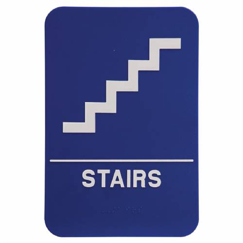 "ADA 6"" x 9"" Stairs Sign Blue/White"