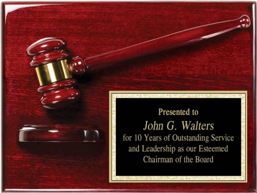 9 X 12 Rosewood Piano Finish Gavel Plaque Complete