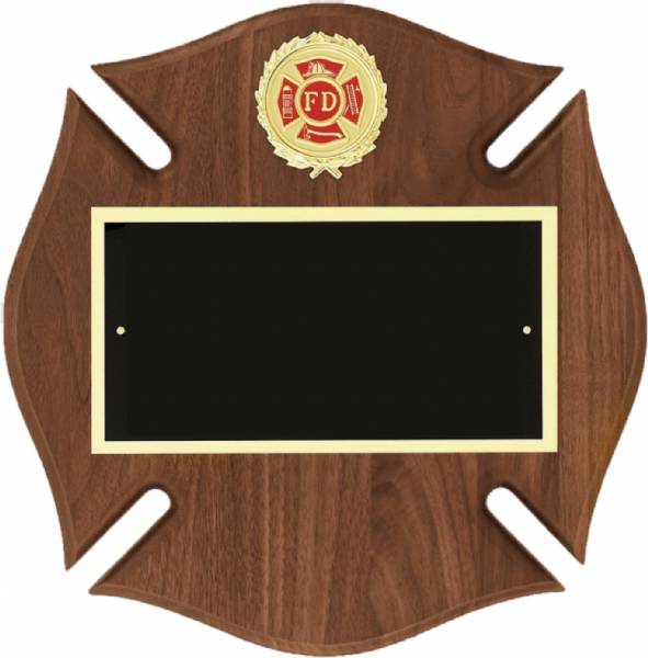 "12"" x 12"" Walnut Maltese Cross Plaque Blank with Plate"
