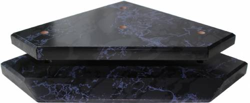 Black Marble Finish Wood Slant Front 3-Post Trophy Base/Lid Set