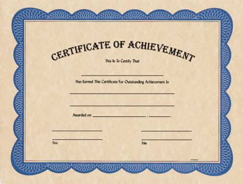 Blank Certificate of Achievement  Award Certificates from