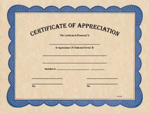 Blank Certificate of Appreciation
