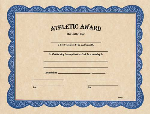 Blank Athletic Award Certificate