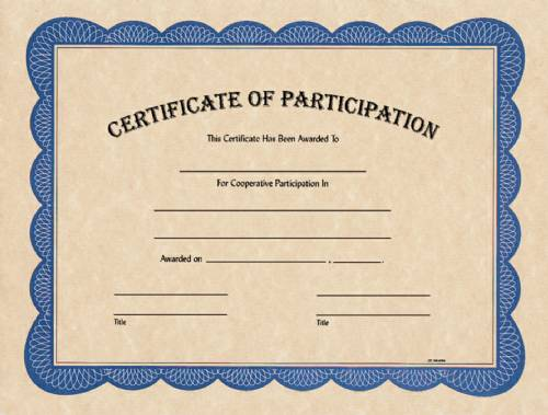 blank certificate of participation