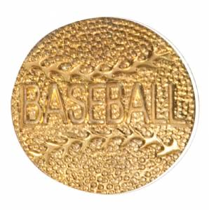 Gold Baseball with text Lapel Chenille Insignia Pin - Metal