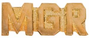 Gold Manager Lapel Chenille Insignia Pin - Metal