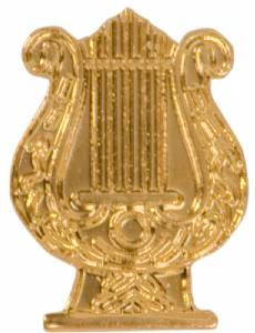 Gold Music Lyre Lapel Chenille Insignia Pin - Metal