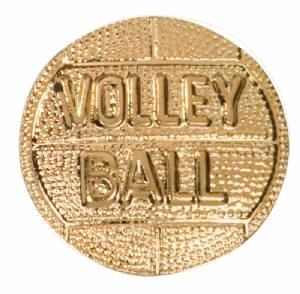 Gold Volleyball Lapel Chenille Insignia Pin - Metal